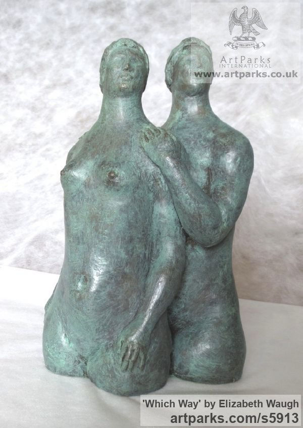 Bronze resin Females Women Girls Ladies sculpture statuettes figurines sculpture by sculptor Elizabeth Waugh titled: 'Which Way (Two Full Bodied nude Womens Naked Torsos bronze sculptures)'