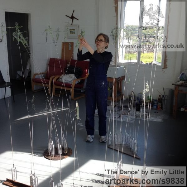 Steel, chicken wire, nylon Spirit of Dance Abstract Contemporary Modern sculpture by sculptor Emily Little titled: 'The Dance (Moving Wire Stylised Figures statues)' - Artwork View 5