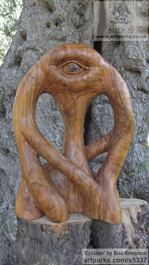 Olive wood Mythical sculpture by sculptor Eric Kempson titled: 'Cyclops (abstract olive wood carving)'