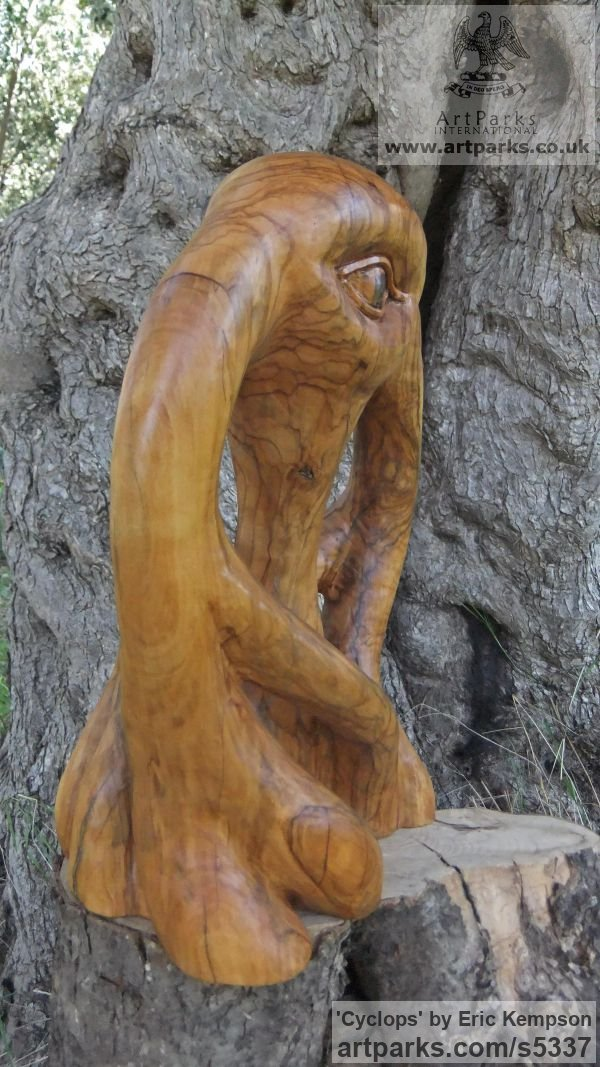 Olive wood Mythical sculpture by sculptor Eric Kempson titled: 'Cyclops (abstract olive wood carving)' - Artwork View 2