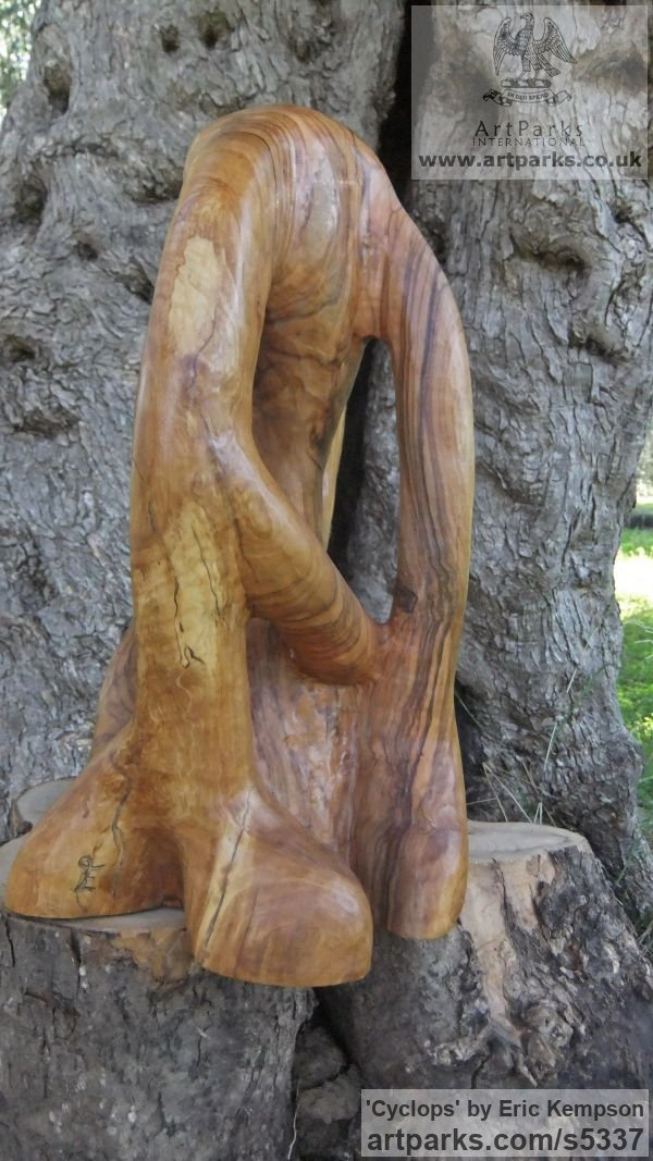 Olive wood Mythical sculpture by sculptor Eric Kempson titled: 'Cyclops (abstract olive wood carving)' - Artwork View 4