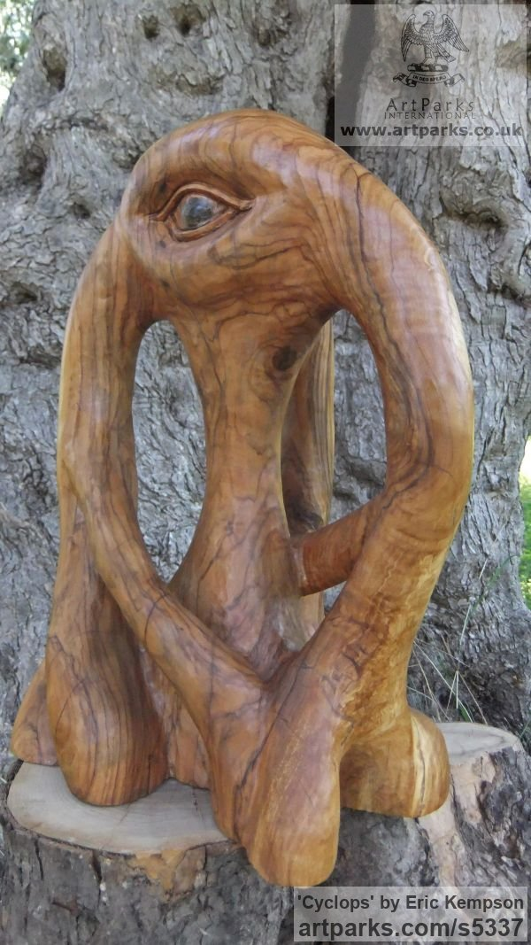 Olive wood Mythical sculpture by sculptor Eric Kempson titled: 'Cyclops (abstract olive wood carving)' - Artwork View 5
