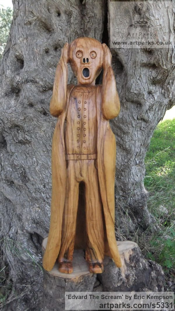 Olive wood Human Form: Abstract sculpture by sculptor Eric Kempson titled: 'Edvard The Scream (Carved garden Olive Wood sculpture carving)'
