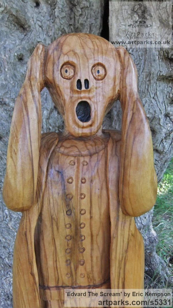 Olive wood Human Form: Abstract sculpture by sculptor Eric Kempson titled: 'Edvard The Scream (Carved garden Olive Wood sculpture carving)' - Artwork View 2