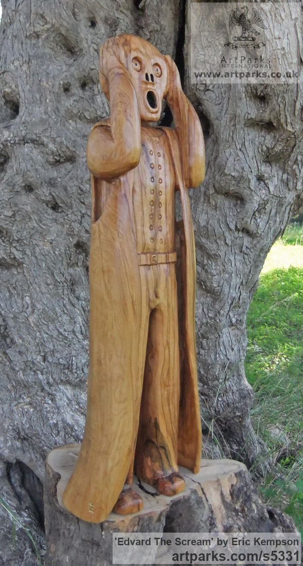 Olive wood Human Form: Abstract sculpture by sculptor Eric Kempson titled: 'Edvard The Scream (Carved garden Olive Wood sculpture carving)' - Artwork View 3