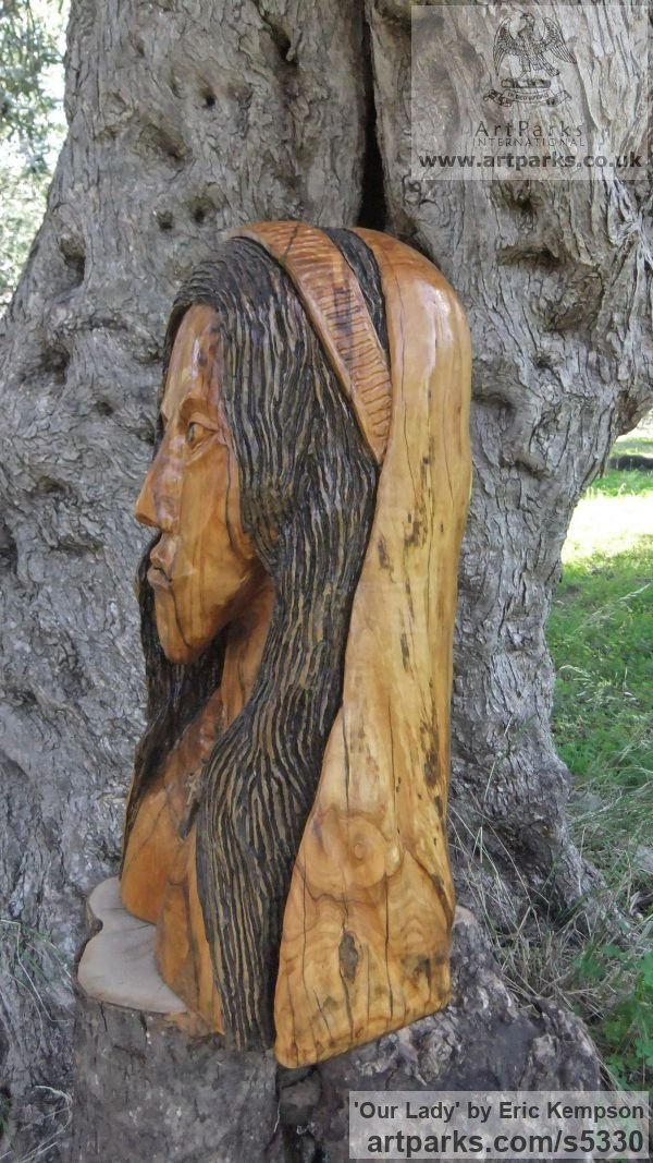 Olive wood Carved Wood sculpture by sculptor Eric Kempson titled: 'Our Lady (Naqive Madonna Carved Olive Wood statue/statuette/sculpture)' - Artwork View 4