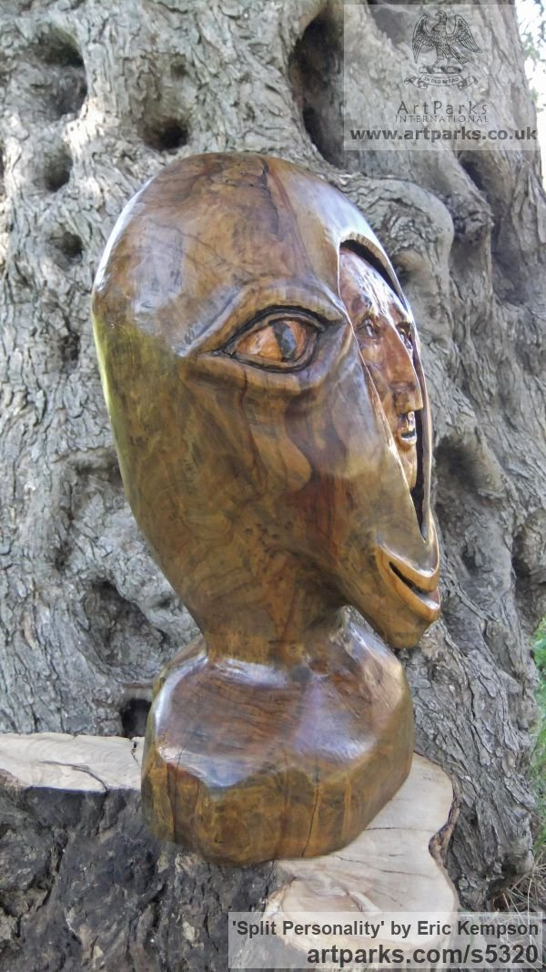 Olive wood Abstract Contemporary Modern Outdoor Outside Garden / Yard sculpture statuary sculpture by sculptor Eric Kempson titled: 'Split personality. (Semi abstract Contemporary faceWood carving)' - Artwork View 3
