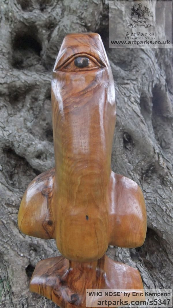 Olive wood Phallic sculpture by sculptor Eric Kempson titled: 'WHO NOSE' - Artwork View 2