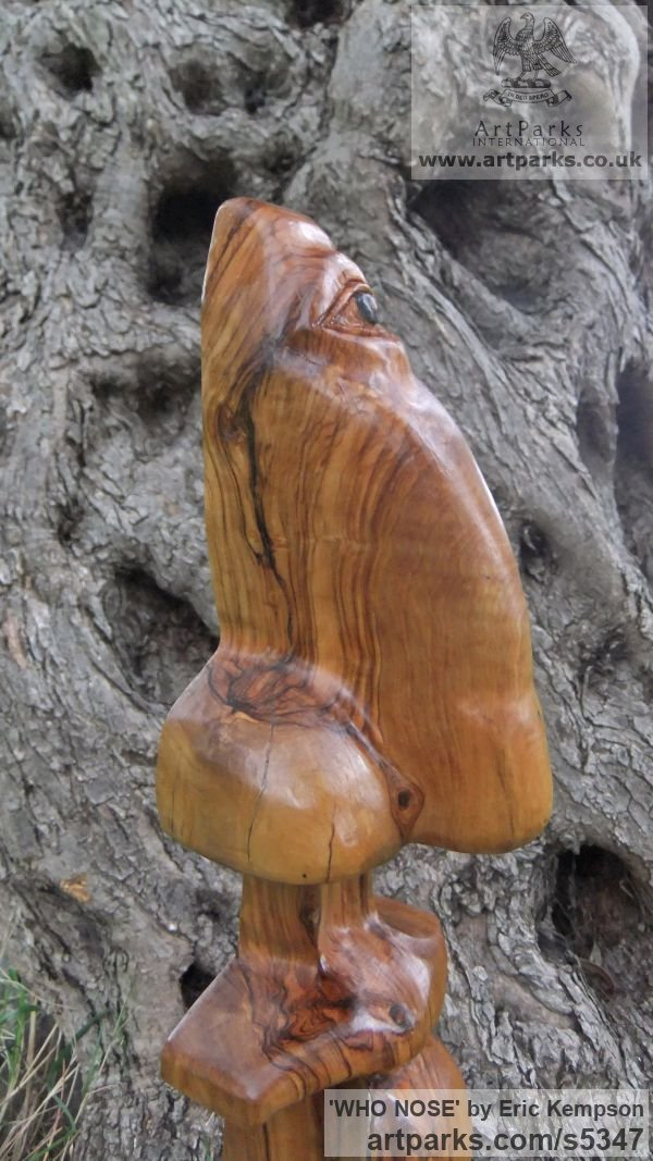 Olive wood Phallic sculpture by sculptor Eric Kempson titled: 'WHO NOSE' - Artwork View 5