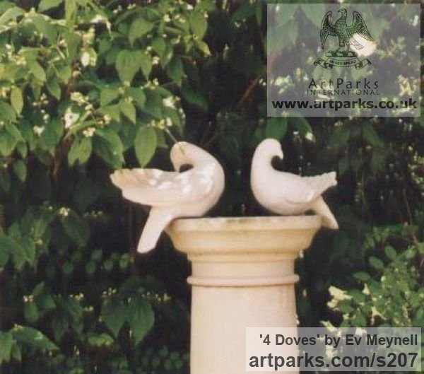 Re-constituted stone Varietal Mix of Bird Sculptures or sculpture by sculptor Ev Meynell titled: '4 Doves'