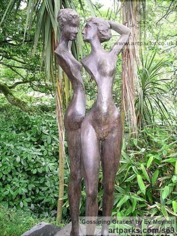 Bronze Resin Garden Or Yard / Outside and Outdoor sculpture by sculptor Ev Meynell titled: 'Gossiping Graces' - Artwork View 1