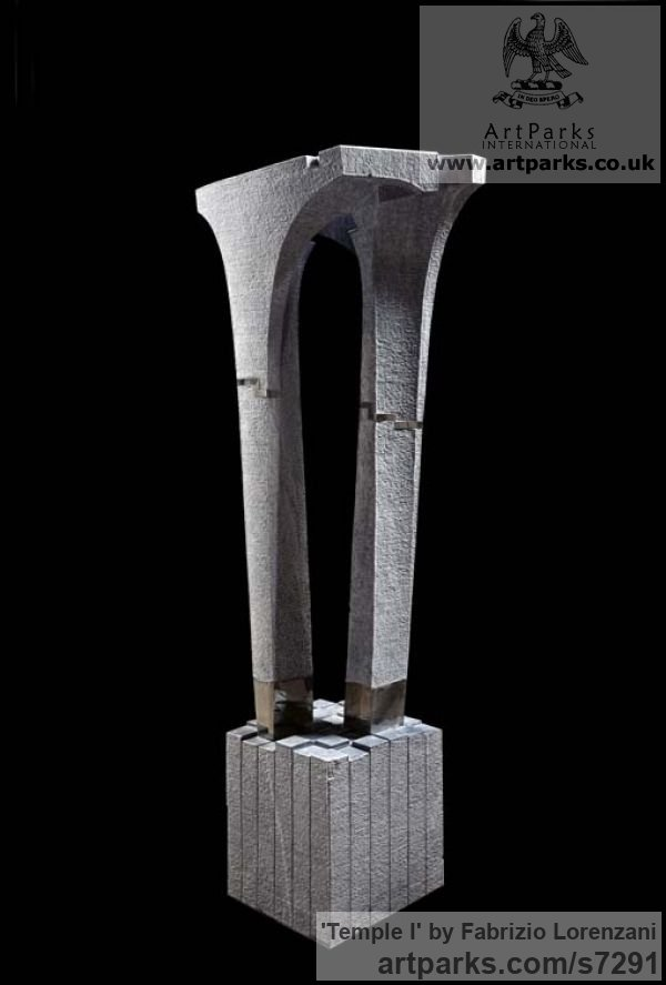 Grey Carrara Bardiglio Marble Abstract Contemporary Modern Outdoor Outside Garden / Yard sculpture statuary sculpture by sculptor Fabrizio Lorenzani titled: 'Temple I (Carved marble abstract Architectural Contemporary statue)'