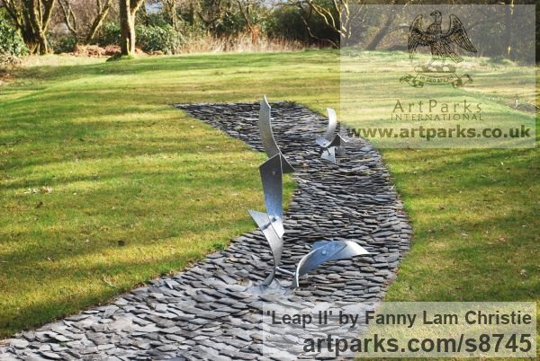 Alumnium Abstract Contemporary Modern Outdoor Outside Garden / Yard sculpture statuary sculpture by sculptor Fanny Lam Christie titled: 'Leap II (semi- abstract aluminium installation sculpture)'