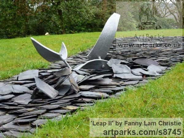 Alumnium Abstract Contemporary Modern Outdoor Outside Garden / Yard sculpture statuary sculpture by sculptor Fanny Lam Christie titled: 'Leap II (semi- abstract aluminium installation sculpture)' - Artwork View 3