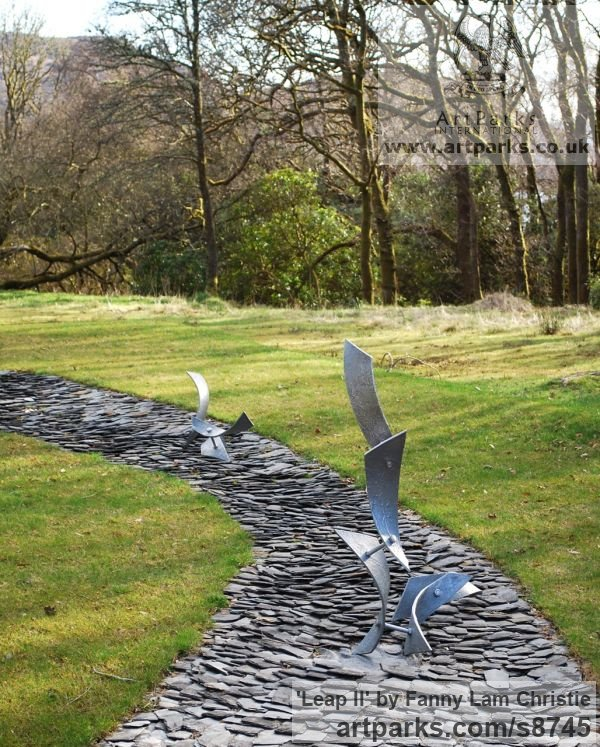 Alumnium Abstract Contemporary Modern Outdoor Outside Garden / Yard sculpture statuary sculpture by sculptor Fanny Lam Christie titled: 'Leap II (semi- abstract aluminium installation sculpture)' - Artwork View 5