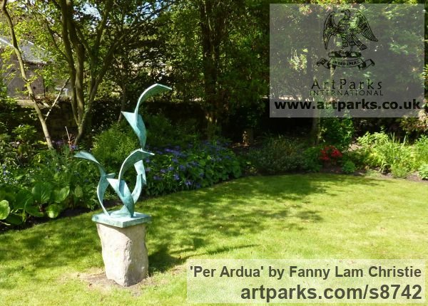 Bronze Garden Or Yard / Outside and Outdoor sculpture by sculptor Fanny Lam Christie titled: 'Per Ardua (abstract Contemporary bronze sculpture)' - Artwork View 2