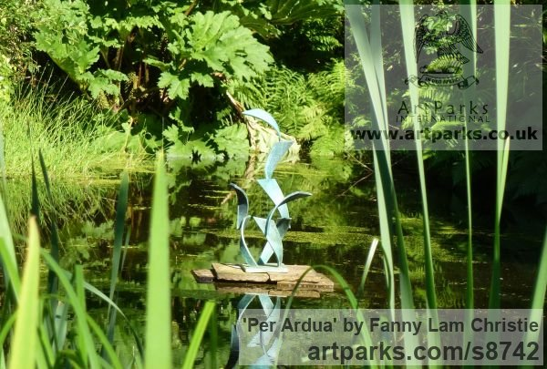 Bronze Garden Or Yard / Outside and Outdoor sculpture by sculptor Fanny Lam Christie titled: 'Per Ardua (abstract Leaping Salmon Bronze sculpture)' - Artwork View 3