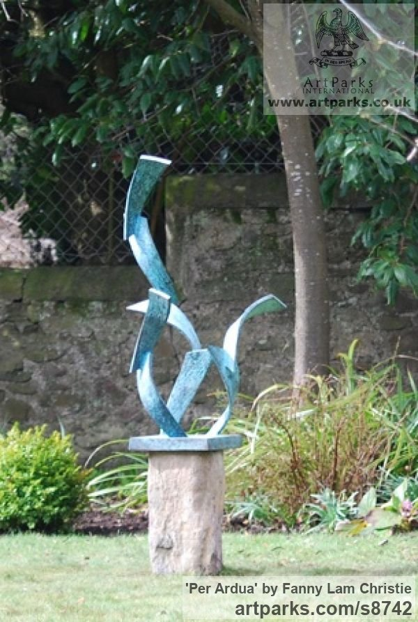 Bronze Garden Or Yard / Outside and Outdoor sculpture by sculptor Fanny Lam Christie titled: 'Per Ardua (abstract Leaping Salmon Bronze sculpture)' - Artwork View 5