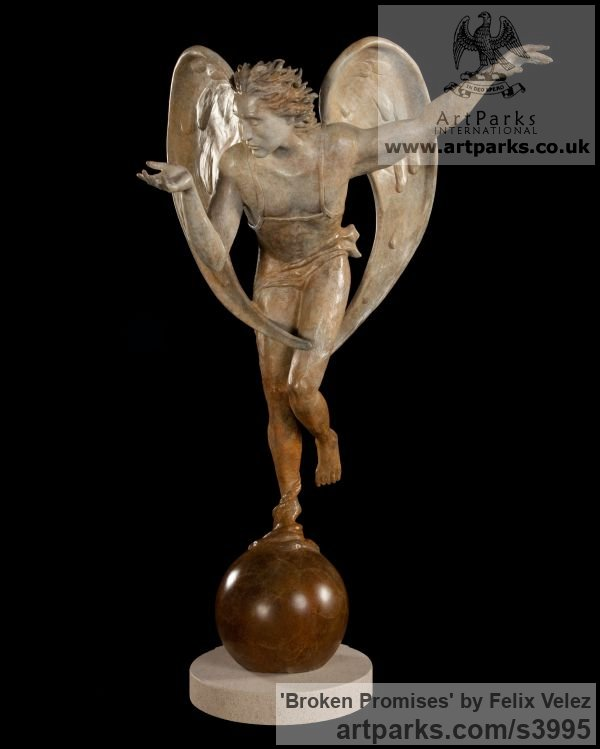 Bronze Male Men Youths Masculine sculpturettes figurines sculpture by sculptor Felix Velez titled: '`Broken Promises` (Flying Angel Bronze sculptures)'