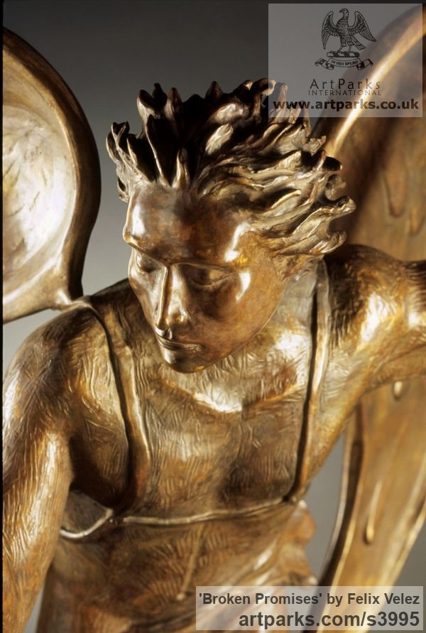 Bronze Male Men Youths Masculine sculpturettes figurines sculpture by sculptor Felix Velez titled: '`Broken Promises` (Flying Angel Bronze sculptures)' - Artwork View 3