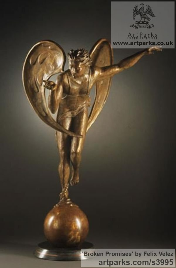 Bronze Male Men Youths Masculine sculpturettes figurines sculpture by sculptor Felix Velez titled: 'Broken Promises (Flying Bronze nude Male Angel statue)' - Artwork View 4
