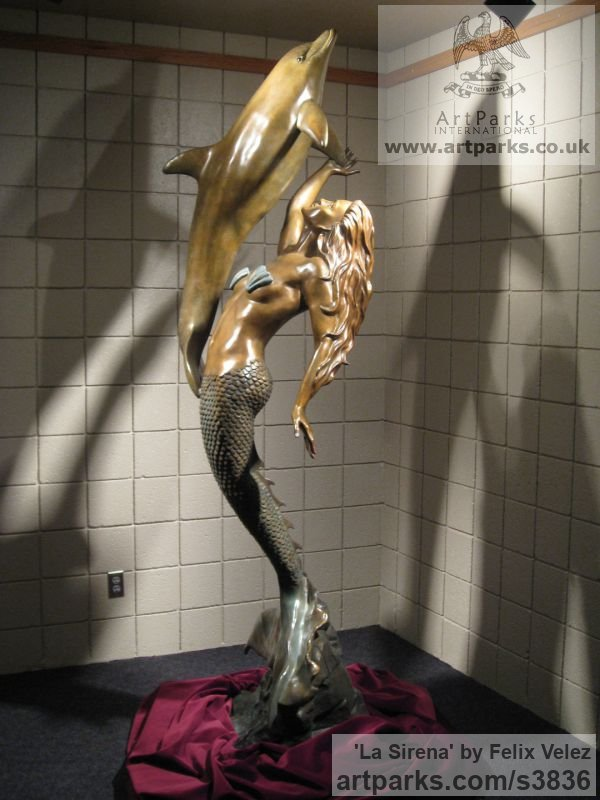 Bronze Sign of the Zodiac sculpture by sculptor Felix Velez titled: 'La Sirena (bronze life size nude Mermaid Dolphin sculptures/statues)' - Artwork View 1