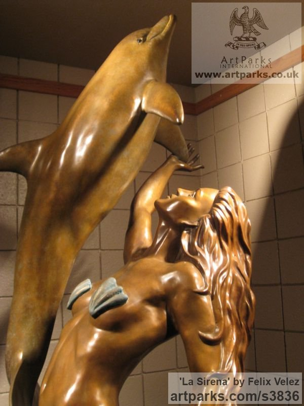 Bronze Sign of the Zodiac sculpture by sculptor Felix Velez titled: 'La Sirena (bronze life size nude Mermaid Dolphin sculptures/statues)' - Artwork View 3