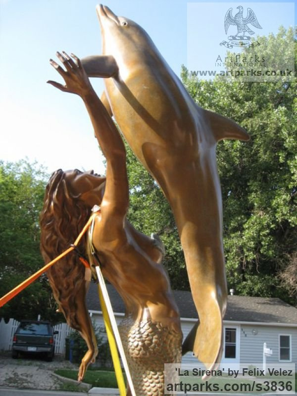 Bronze Sign of the Zodiac sculpture by sculptor Felix Velez titled: 'La Sirena (bronze life size nude Mermaid Dolphin sculptures/statues)' - Artwork View 5