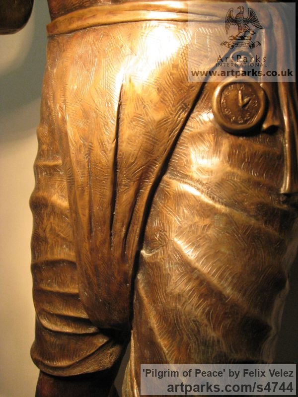 Bronze Portrait Sculptures / Commission or Bespoke or Customised sculpture by sculptor Felix Velez titled: 'Pilgrim of Peace (Bronze life size Mahatma Gandhi statue)' - Artwork View 4