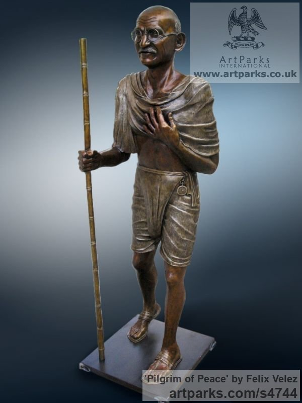 Bronze Portrait Sculptures / Commission or Bespoke or Customised sculpture by sculptor Felix Velez titled: 'Pilgrim of Peace (Bronze life size Mahatma Gandhi statue)' - Artwork View 1