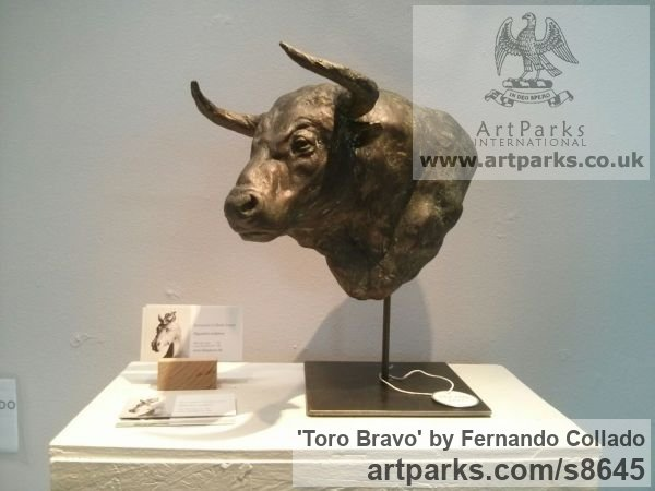 Cold Cast Bronze Tabletop Desktop Small Indoor Statuettes Figurines sculpture by sculptor Fernando Collado titled: 'Toro Bravo (Bull Fighting Head sculpture)'