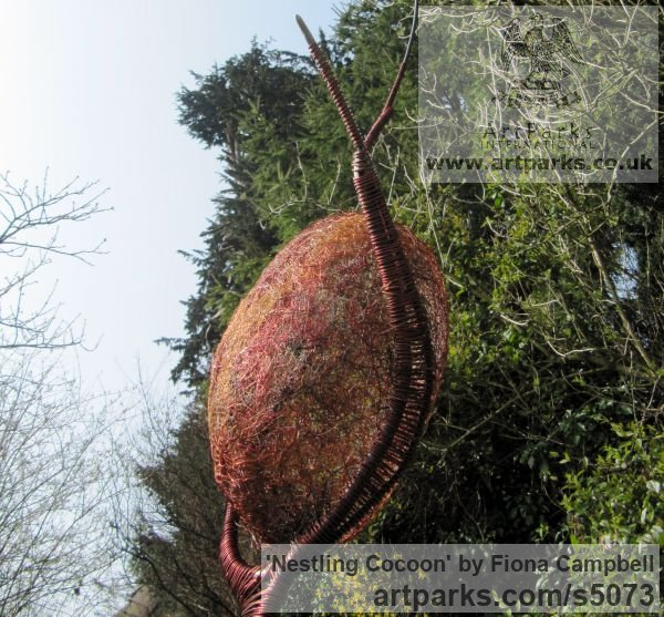 Steel and wire Abstract Contemporary Modern Outdoor Outside Garden / Yard sculpture statuary sculpture by sculptor Fiona Campbell titled: 'Nestling Cocoon (Metal garden Outdoor Insect statue Yard decoration)' - Artwork View 2