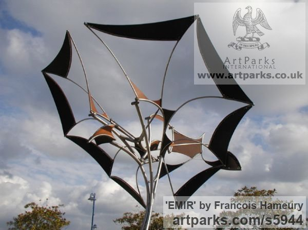 Steels, canvas, bearings Abstract Contemporary Modern Outdoor Outside Garden / Yard sculpture statuary sculpture by sculptor Francois Hameury titled: 'EMIR (Large Butterfly Like Kinetic Wind Mill metal sculptures)'