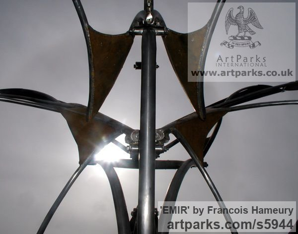 Steels, canvas, bearings Abstract Contemporary Modern Outdoor Outside Garden / Yard sculpture statuary sculpture by sculptor Francois Hameury titled: 'EMIR (Large Butterfly Like Kinetic Wind Mill metal sculptures)' - Artwork View 3