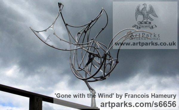 Stainless steel, polycarbonate Abstract Contemporary Modern Outdoor Outside Garden / Yard sculpture statuary sculpture by sculptor Francois Hameury titled: 'Gone with the wind' - Artwork View 2