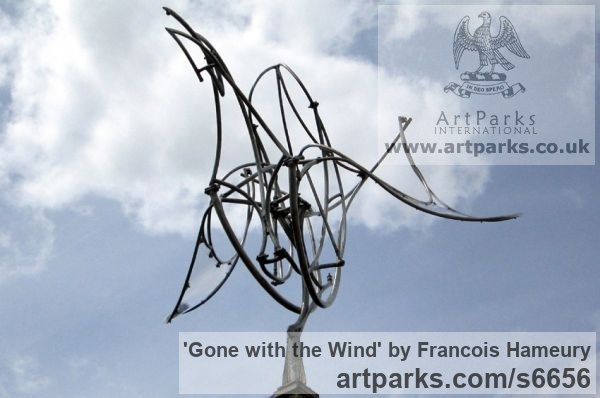 Stainless steel, polycarbonate Abstract Contemporary Modern Outdoor Outside Garden / Yard sculpture statuary sculpture by sculptor Francois Hameury titled: 'Gone with the wind' - Artwork View 3