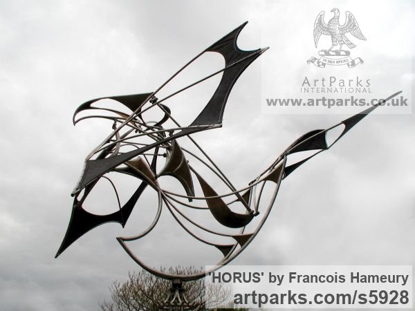 Stainless steel, cor-ten steel, bearings Garden Or Yard / Outside and Outdoor sculpture by sculptor Francois Hameury titled: 'HORUS (Large abstract Kinetic Wind Powered Mobile statues)'
