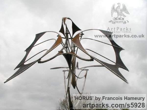 Stainless steel, cor-ten steel, bearings Garden Or Yard / Outside and Outdoor sculpture by sculptor Francois Hameury titled: 'HORUS (Large abstract Kinetic Wind Powered Mobile statues)' - Artwork View 2