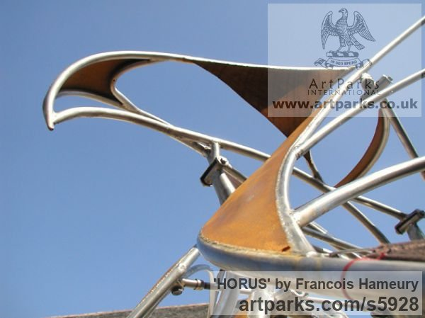 Stainless steel, cor-ten steel, bearings Garden Or Yard / Outside and Outdoor sculpture by sculptor Francois Hameury titled: 'HORUS (Large abstract Kinetic Wind Powered Mobile statues)' - Artwork View 3