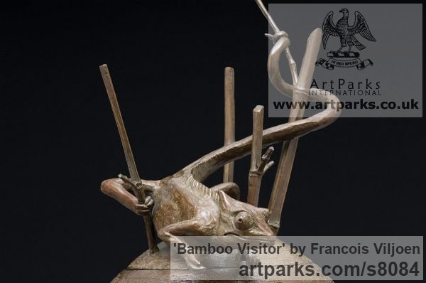 Bronze Wild Animals and Wild Life sculpture by sculptor Francois Viljoen titled: 'Bamboo Visitor (Chameleon Hunting sculpture)'