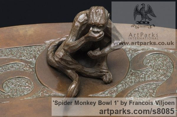 Bronze Wild Animals and Wild Life sculpture by sculptor Francois Viljoen titled: 'Spider Monkey 1 Bowl (Bronze Primate sculpture)' - Artwork View 2