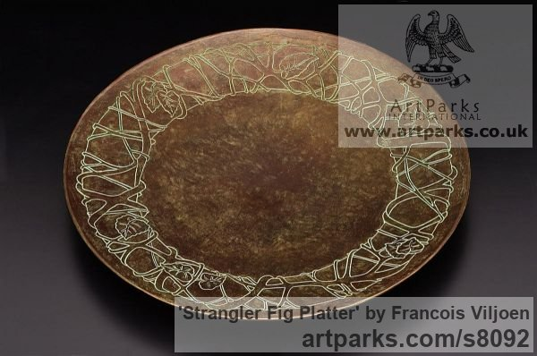 Bronze Etched Stone Slate Glass Panel Slab Tile Sheet sculpture by sculptor Francois Viljoen titled: 'Strangler Fig Platter (Arte Deco Dish Plate sculpture)'