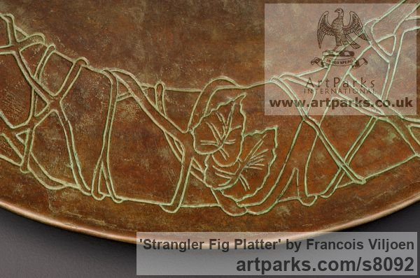 Bronze Etched Stone Slate Glass Panel Slab Tile Sheet sculpture by sculptor Francois Viljoen titled: 'Strangler Fig Platter (Arte Deco Dish Plate sculpture)' - Artwork View 2