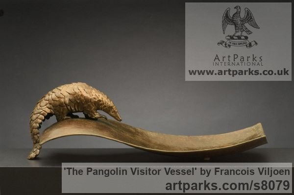 Bronze Wild Animals and Wild Life sculpture by sculptor Francois Viljoen titled: 'The Pangolin Visitor Vessel (and Frond statuette)'