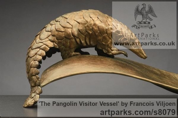 Bronze Wild Animals and Wild Life sculpture by sculptor Francois Viljoen titled: 'The Pangolin Visitor Vessel (and Frond statuette)' - Artwork View 2