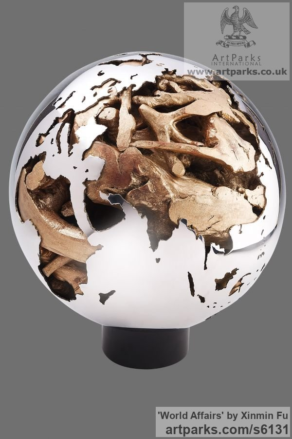 Stainless Steel, Root or Bronze Small / Little Abstract Contemporary Sculptures / sculpture by sculptor Xinmin Fu titled: 'World Affairs (Global Earth Sphere Contemporary statue)'