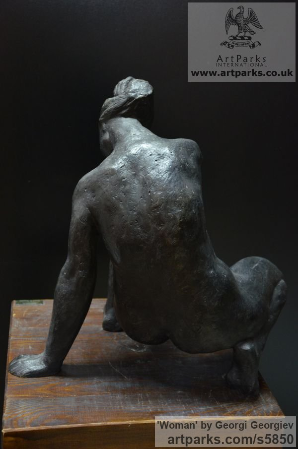 Bronze Garden Or Yard / Outside and Outdoor sculpture by sculptor Georgi Georgiev titled: 'Woman (Bronze seated Stylized nude statue for sale)'