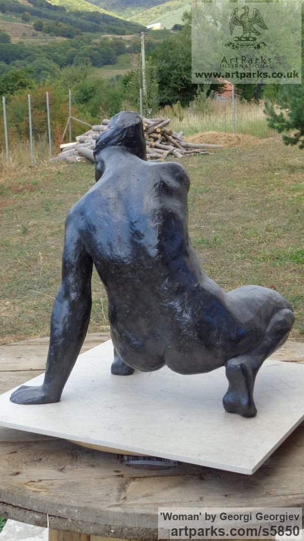 Bronze Garden Or Yard / Outside and Outdoor sculpture by sculptor Georgi Georgiev titled: 'Woman (Bronze seated Stylized nude statue for sale)' - Artwork View 3