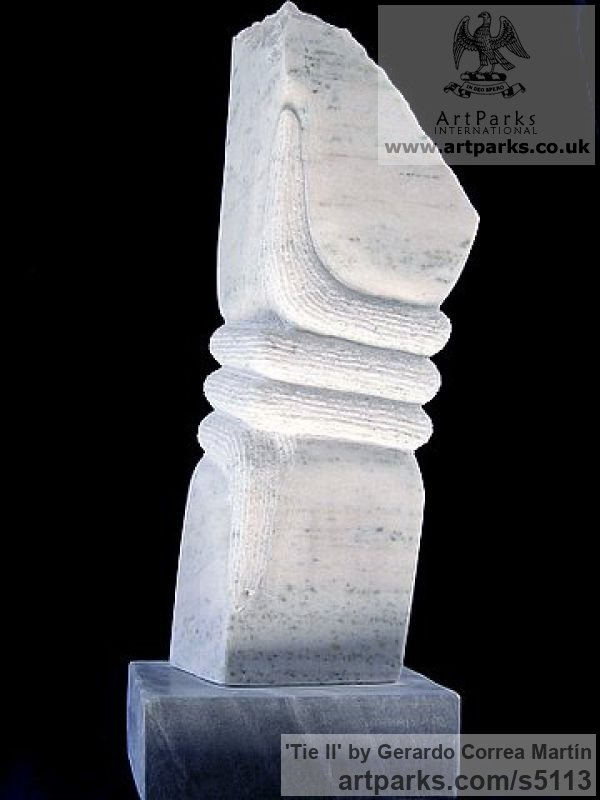 Uruguayan Pearl White Marble Abstract Contemporary Modern Outdoor Outside Garden / Yard sculpture statuary sculpture by sculptor Gerardo Correa Martín titled: 'Tie II (Small Little marble abstract Carving Indoor statuette ornament)' - Artwork View 1