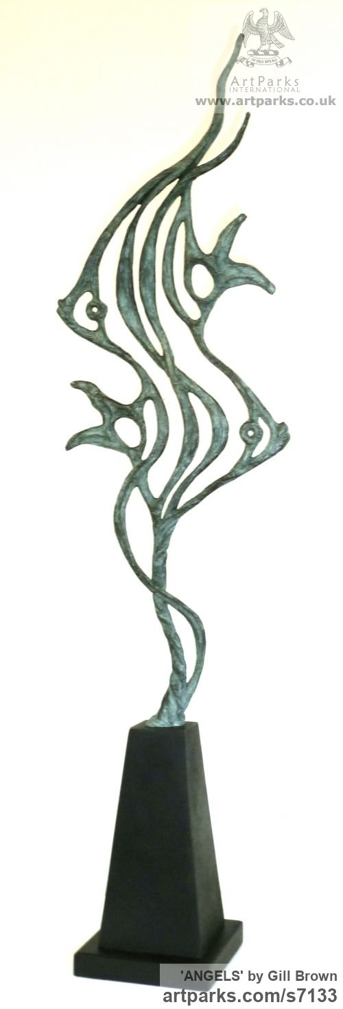 BRONZE Animal Abstract Contemporary Modern Stylised Minimalist sculpture by sculptor Gill Brown titled: 'ANGELS (Semi abstract Contemporary Angel Fish Indoor/Outdoor statuette)'